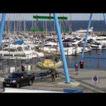 4К | яхт-Хафен Гавань Гремиц — Schiffskran судно кран — море помочь